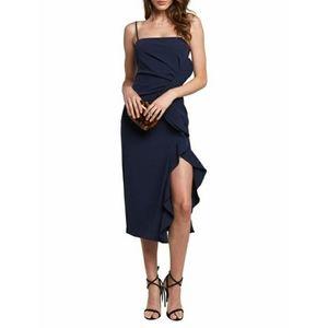 Bardot Ronda Ruffle Midi Navy Dress